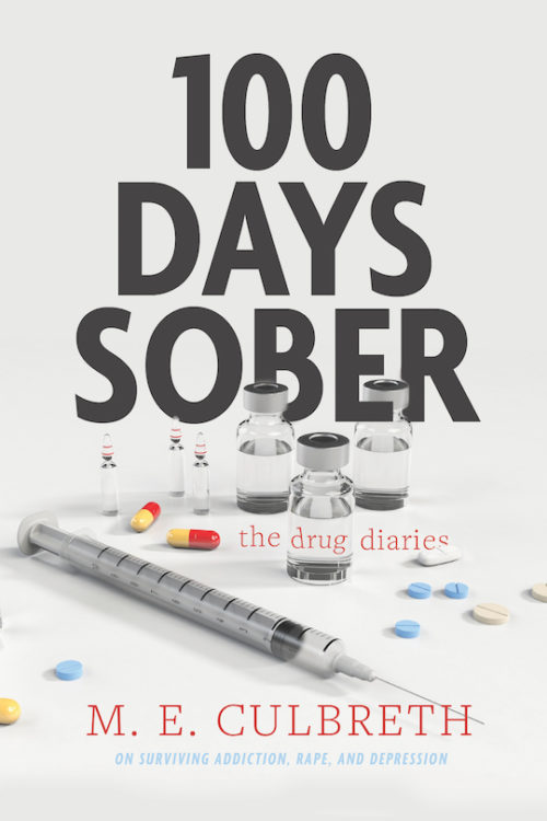 100 Days Sober Cover: image of drugs and needles with the author information