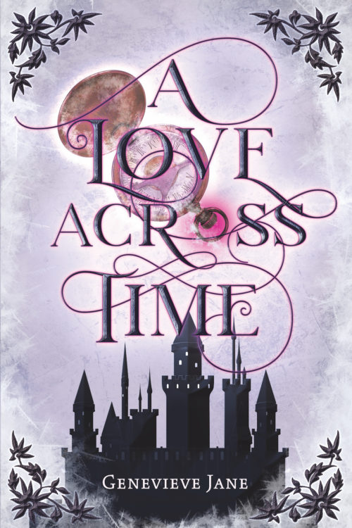 A Love Across Time cover: a castle with a wintery image and a pocket watch