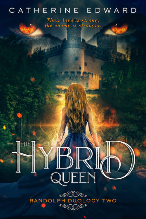 The Hybrid Queen Cover: A Girl Facing a Castle and Wolf Eyes