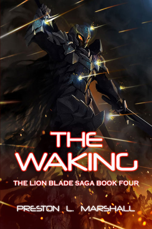 A robotic alien dominates a landscape of red and orange. The book title reads The Waking